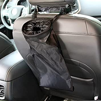 IPELY Car Vehicle Back Seat Headrest Litter Trash Garbage Bag Black