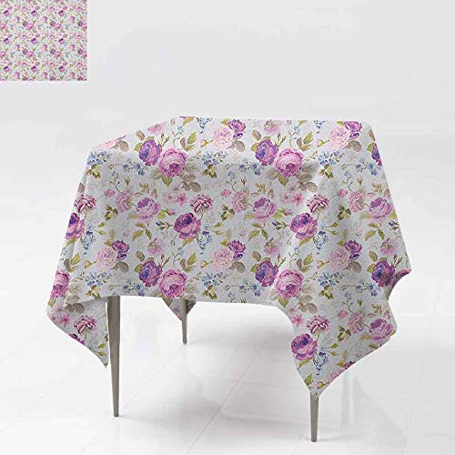 AndyTours Waterproof Table Cover,Floral,Floral Pattern Pastel Tones Love and Adoration Theme Lovely Leaves Petals,Party Decorations Table Cover Cloth,50x50 Inch Lilac Green Pale Blue