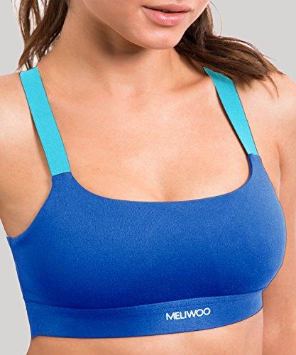 Meliwoo - Sujetadores Deportivo de Impacto Medio con Relleno sin Aros Para Mujer Azul