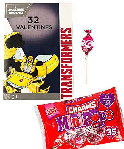 Transformers 32 Valentines Cards and Charms Lollipops Classroom Exchange Bundle For Kids