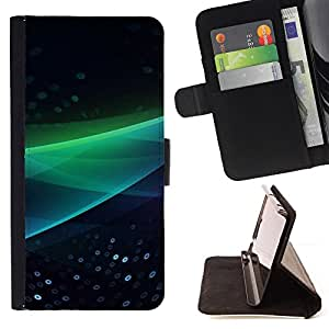 For Samsung Galaxy S5 V SM-G900 Abstract Green Wave Leather Foilo Wallet Cover Case with Magnetic Closure