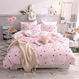 Toys Studio 3 Pieces Kids Duvet Cover Set 100% Cotton Cartoon Animal Print Bedding Sets with Zipper Closure, Breathable Material Bedspreads for Boys Girls (Strawberry, Queen)