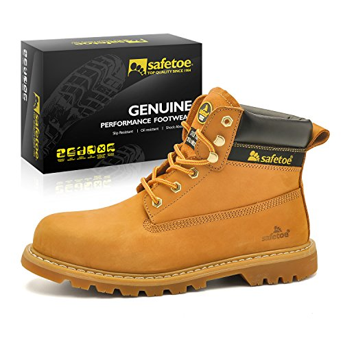 SAFETOE Men's Safety Boots Water-Resistant Work Boots Steel Toe Shoes STYLE M-8173 COLOR YELLOW SIZE 12 US