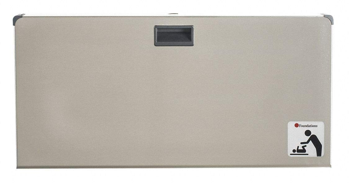 Baby Changing Station, Horizontal, Recessed Mount, Stainless Steel/Polyethylene