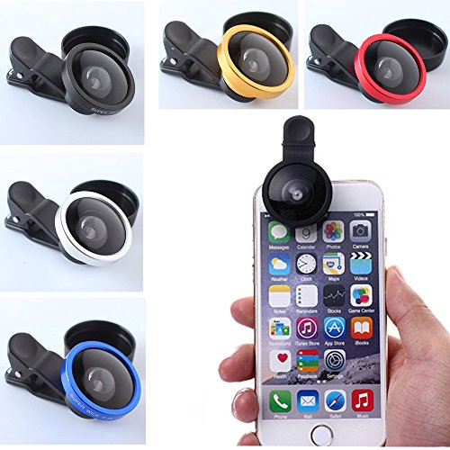 セルカレンズ 超広角0.4x iPhone・スマートフォン用カメラレンズ クリップ式180度 全5色 (ローズレッド)
