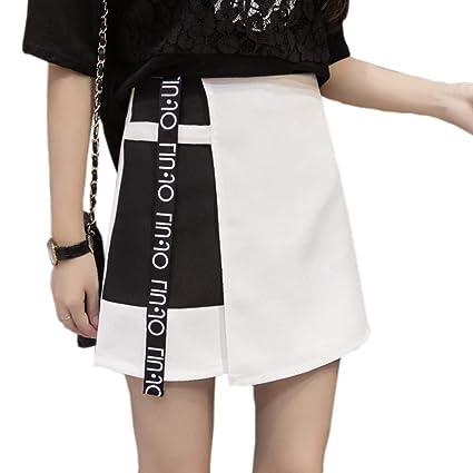 DAHDXD Estilo de la Moda Coreana Mujeres Remiendo Carta Impresa ...