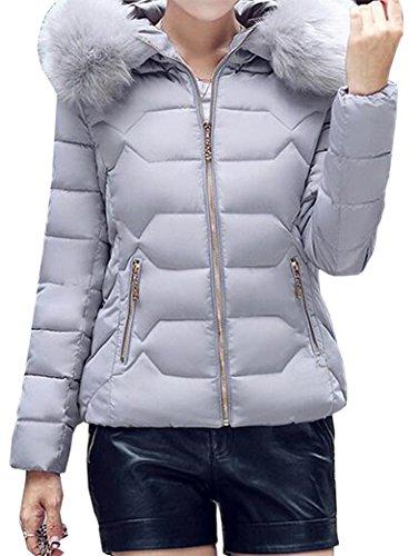 Invierno Parka Peluda Capucha Outwear Gris Con Casual Mujer Corta Yeesea Abrigos Acolchado Jacket 10xw8pFIq