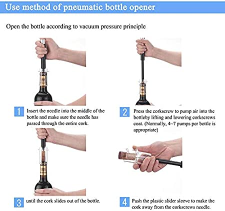 L.WJ Abridor de Vino 4pcs Set, Vino de Aire de presión Abridor de Botellas, Botella de Vino Herramienta, Kit Sacacorchos con Cortador Hoja, Black