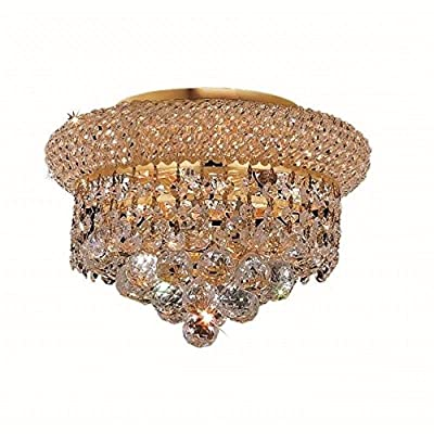 Elegant Lighting 1800F10G/RC Royal Cut Clear Crystal Primo 3-Light, Single-Tier Flush Mount Crystal Chandelier, Finished In Gold with Clear Crystals