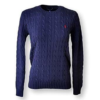 Ralph Lauren Women's Cable Knit Crew Neck Sweater (Hunter Navy Large)