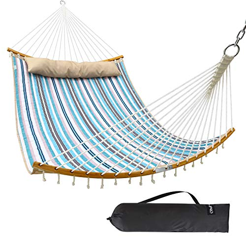 Ohuhu Double Hammock with Detachable Pillow, 2019 All New Curved-Bar Design Strong Bamboo Hammock Swing with Carrying Bag, 4.6'W x 6.2'L, Blue & White ()