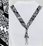 Random Ink Tribal Doodle Design - Soft Printed ID Neck Lanyard
