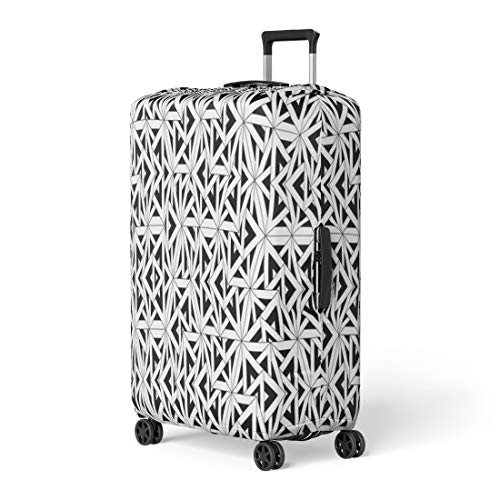 Semtomn Luggage Cover Modern Sacred Geometry Black and White Abstract Monochrome Sheets Travel Suitcase Cover Protector Baggage Case Fits 22-24 Inch ()