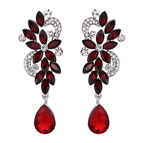 BriLove Women's Wedding Bridal Dangle Earrings Bohemian Boho Crystal Flower Chandelier Teardrop Bling Earrings Ruby Color Silver-Tone