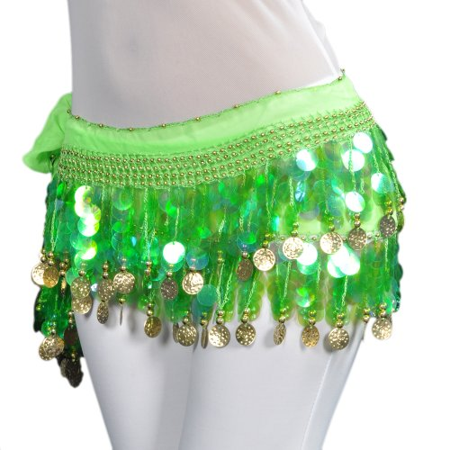 BellyLady Belly Dance Hip Scarf Skirt Wrap With Paillettes Christmas Gift Idea-Green