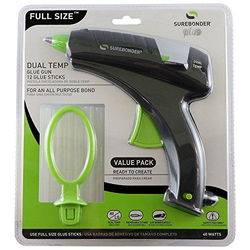 Surebonder DT-270FKIT Full Size Dual Temperature Glue Gun with 12-4-Inch Standard All Purpose Glue Sticks