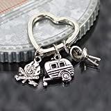 Camping RV Campfire and Grill Charm Key Chain