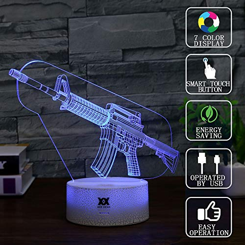 Gun Shape 3D Visual Illusion Night Light Xmas Chirstmas Halloween Birthday Easter Day Gift Nursery Bedroom Table Night Lamps Lights for Boys Kids Teens Room Decor by HUI Yuan