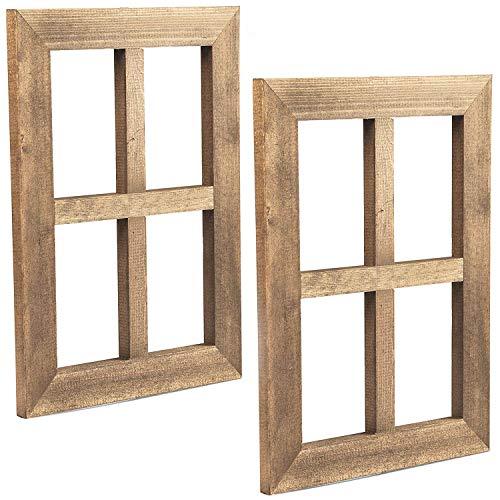 Ilyapa Window Frame Wall Decor 2 Pack - Rustic Wood