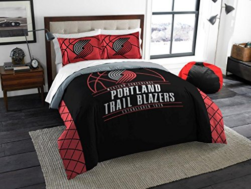 Portland Trail Blazers - 3 Piece FULL / QUEEN SIZE Printed Comforter & Shams - Entire Set Includes: 1 Full / Queen Comforter (86