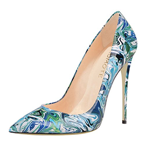 nted Toe Stiletto High Heel Patent Leather Dress Party Usual Pumps Print Blue 6 US (Blue Patent Pointed Toe Heels)