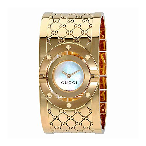 Gucci Twirl G-Tone White Dial Ladies Bangle Watch YA112440