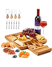 Utoplike Cheese Board with Knife Set, Bamboo Charcuterie Platter Serving Tray, Large(33cm x 33cm x 3.6cm) with 4 Stainless Steel Knife Folks in Drawer, Perfect for Birthday, Housewarming & Wedding