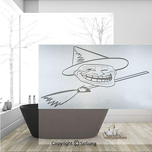 3D Decorative Privacy Window Films,Halloween Spirit Themed Witch Guy Meme LOL Joy Spooky Avatar Artful Image,No-Glue Self Static Cling Glass Film for Home Bedroom Bathroom Kitchen Office 36x24 Inch -