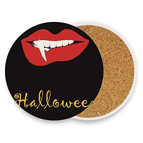 Koperororo Halloween Theme Vampire Lip Horror Painting Coaster for Drinks Absorbent Stone Ceramic Coaster With Coaster for Drink with Cork Backing,Pack Of 1