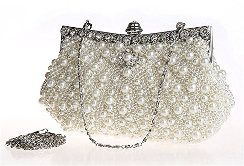 Kingluck Satin with Pearl and Diamond Wedding/Special Occasion Evening Handbags/Clutch (off-white)