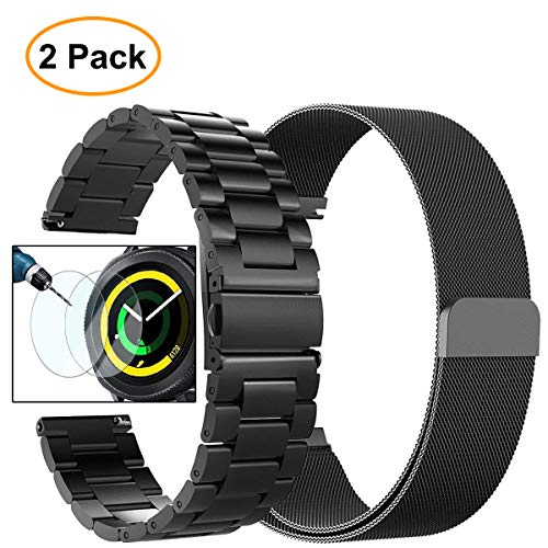 Gear Sport Band, Galaxy Watch (42mm) Band, Valkit 20mm Stainless Steel Watch Bands+Milanese Loop Mesh Replacement Metal Strap+Screen Protector for Samsung Gear Sport/S2 Classic/Galaxy Watch 42mm,Black