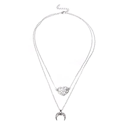 Simple Double layers Heart Pendant Chain Necklace Choker Women Jewelry