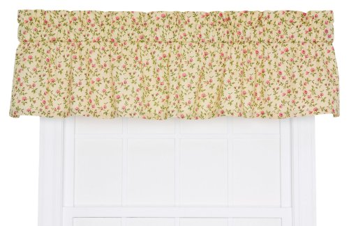 Ellis Curtain Marcia Floral Vine Print Tailored Window Treatment Valance, 70 by 12-Inch, Green ()