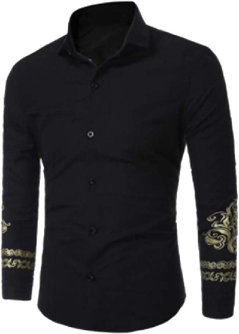 YUNY Men Regular T-Shirts Business Buttoned Plus Size Dress Shirt Black M