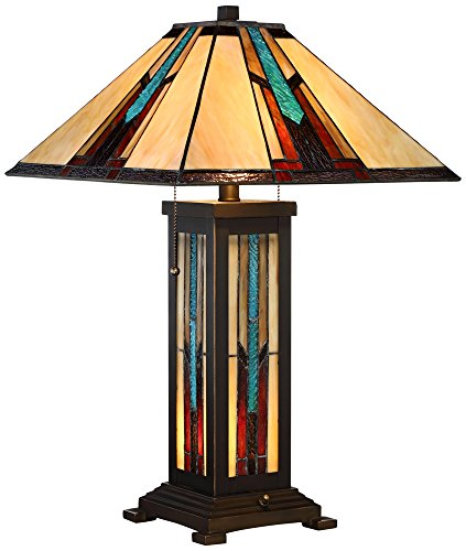 Robert Louis Tiffany Ranier Mission Night Light Table Lamp - 1 Light Glass Table Lamp
