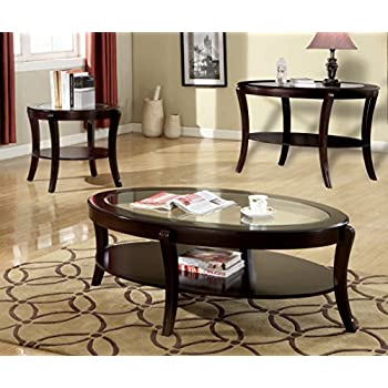 Furniture of America Astrid Contemporary Glass Top Coffee Table, Espresso