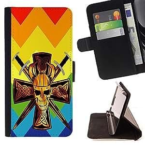 King Case - FOR Samsung Galaxy S6 - Leave no room for regrets - Prima caja de la PU billetera de cuero con ranuras para tarjetas, efectivo Compartimiento desmontable y correa para la mu?eca
