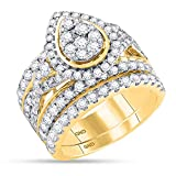 14K Yellow Gold Bridal Pear Tear Infinity Love Knot Diamond Engagement Ring Set 2 7/8 CT (I1-I2 clarity; G-H color)