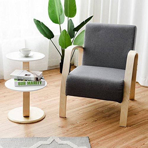 Giantex Modern Accent Chair Lounge Armchair Contemporary Fabric ...