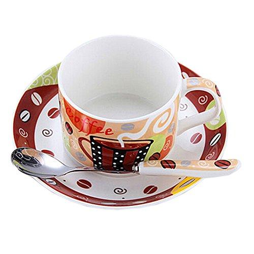 BROWN Modern Coffe Cup English Style Tea Mug Set With Plate&Spoon