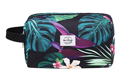 MIETTE Small Cosmetic Bag Cute Makeup Bag, Leaves, Black