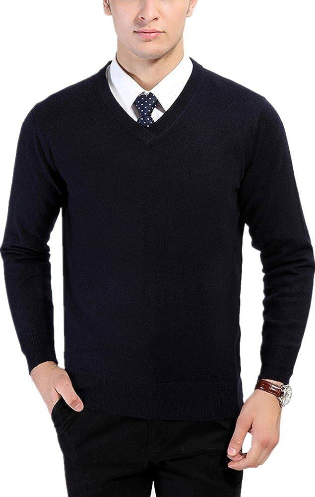 Zofirao Mens 100/% Soft Wool Full Sweater Perfect Slim Fit V-Neck Sweater