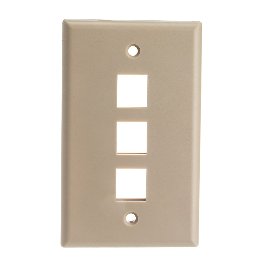 ACL Keystone 3 Port, Single Gang Wall Plate, Beige, 100 Pack by ACL