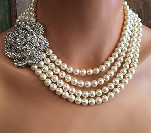 Pearl Statement Necklace with Brooch 4 multi strands wedding necklace in Cream Ivory or White Swarovski pearls Earrings included Wedding jewelry by Alexi Blackwell Bridal -