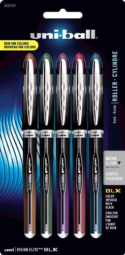 uni-ball Vision Elite BLX Infusion Rollerball Pens, Micro Point (0.5mm), Assorted Colors, 5 Count (0.5 Mm Micro Point)