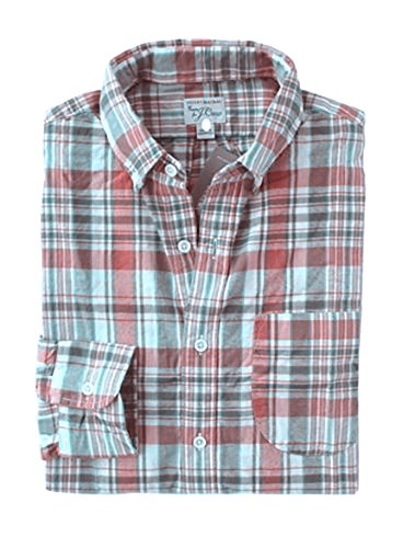 J Crew Men's - Slim Fit - Faded Red/Pink/Gray Plaid Madras Shirt (Large)