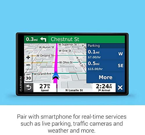 "Garmin DriveSmart 55 and Traffic, GPS Navigator with 5.5"" Display, Simple On-Screen Menus and Easy-to-See Maps"