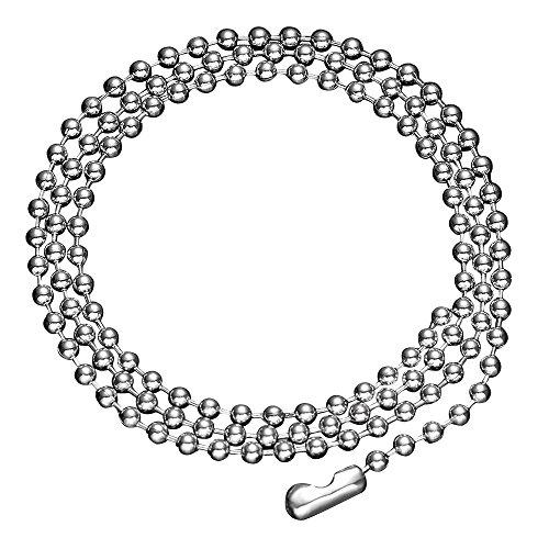 Skyone Women's Men's Jewelry Silver Beaded Ball Chain Necklace Unisex Stainless Steel Charm Biker 18-24