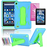 Amazon Fire 7 2015 Case, EpicGadget(TM) 5th Generation Fire 7 Heavy Duty Hybrid Case Full Protection Cover with Kickstand For Fire 7 inch Display + Screen Protector + 1 Stylus (US Seller) Blue/Green