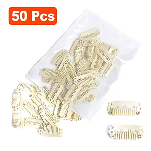 Snap Clips for Hair Extensions Weaves 50pcs U-shape Metallic Wig Clips With Silicon Rubber Small Size Ivory White from BEAUTY PLUS